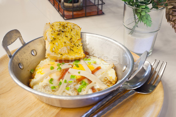 egg pan with pork and bread for breakfast, tradition Thai style Stock photo © FrameAngel
