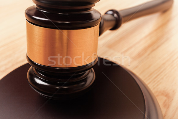 Justice hammer or judge gavel made from wooden on table Stock photo © FrameAngel