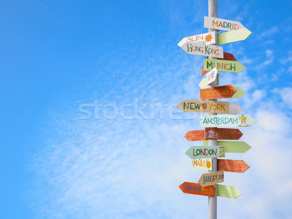 Viajar sinaleiro blue sky negócio estrada mapa Foto stock © FrameAngel