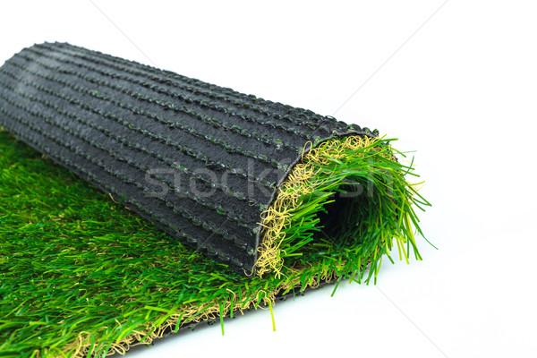 Mesterséges tőzeg zöld fű zsemle fehér textúra Stock fotó © FrameAngel