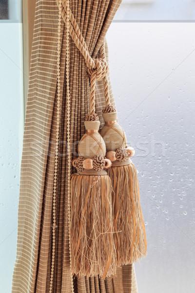 Lujo cortina pared casa tejido wallpaper Foto stock © FrameAngel