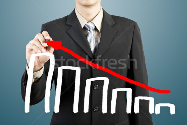 businessman hand drawing chart graph Stock photo © FrameAngel