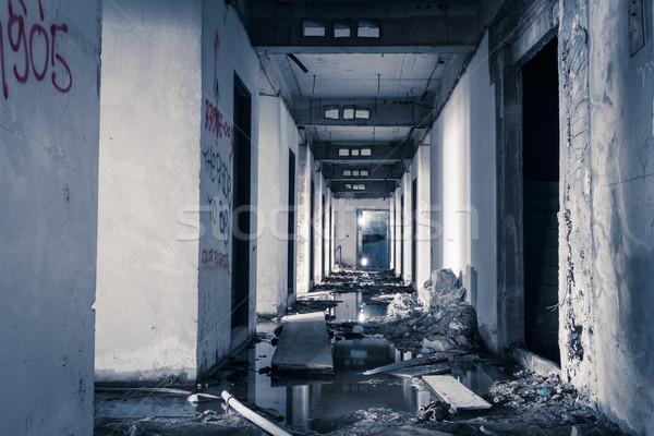 Korytarzu opuszczony budynku puszka horror film Zdjęcia stock © FrameAngel