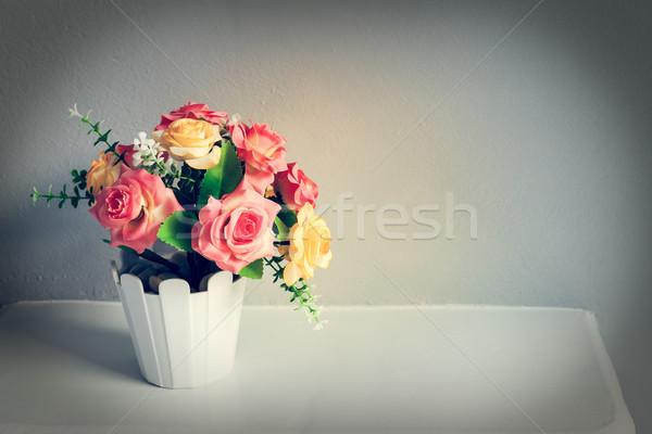 flower on white table, vintage theme Stock photo © FrameAngel