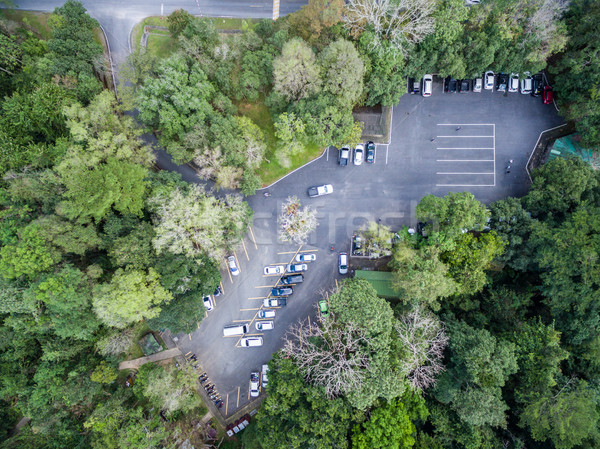 car parking in forest, shallow depth of focus, top or aerial vie Stock photo © FrameAngel