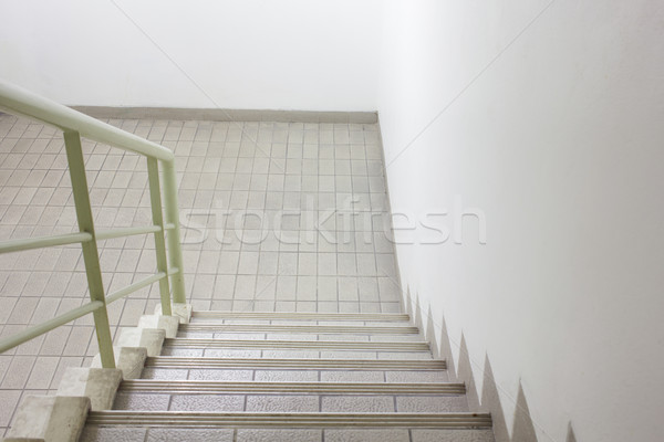 Lépcsőfeljáró kijárat biztonság ház épület fal Stock fotó © FrameAngel