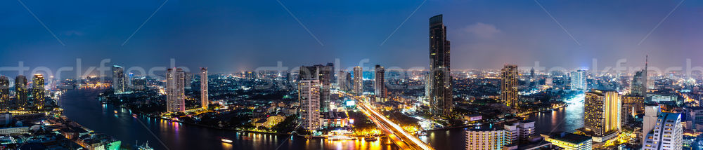 Business Building Bangkok city area at night life with transport Stock photo © FrameAngel