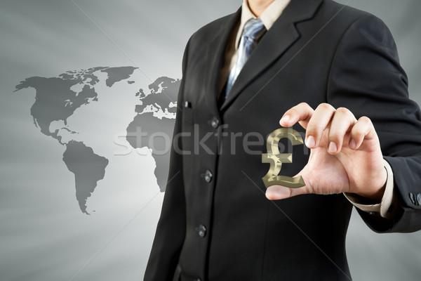 Pound symbol in businessman hand  Stock photo © FrameAngel
