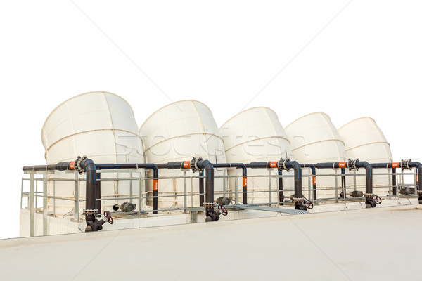 ventilation pipes of industrial building roof top on white backg Stock photo © FrameAngel