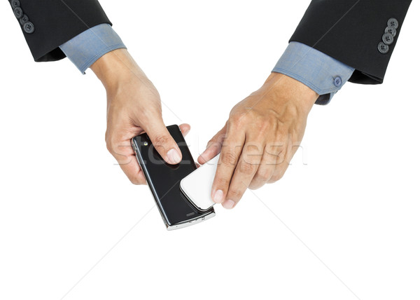 business man holding smartphone as NFC - Near field communicatio Stock photo © FrameAngel