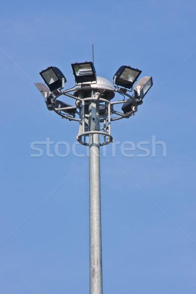 Projektör mavi gökyüzü okul spor futbol alan Stok fotoğraf © FrameAngel