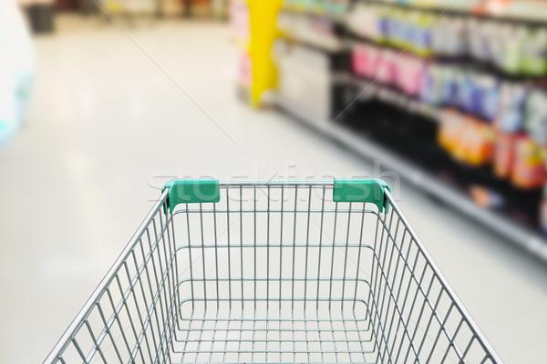 Hátsó nézet üres bevásárlókocsi pláza élelmiszer absztrakt Stock fotó © FrameAngel