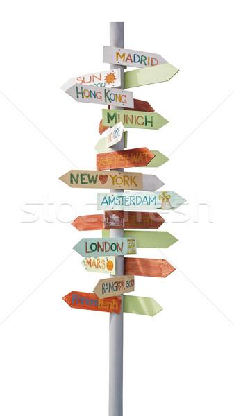 travel traffic sign Stock photo © FrameAngel
