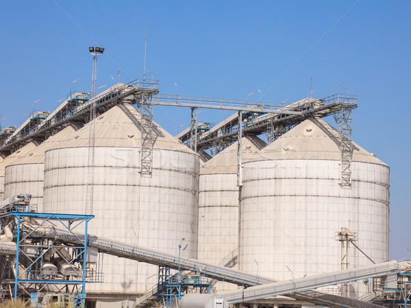 Tahıl depolama tank tarım fabrika endüstriyel Stok fotoğraf © FrameAngel