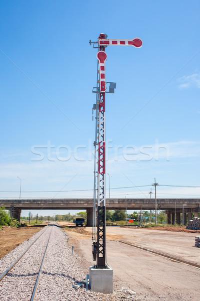 Kolej żelazna pociągu bezpieczeństwa utwór stop kierunku Zdjęcia stock © FrameAngel