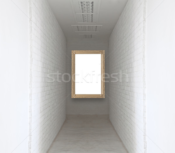 Picture frame on white brick wall and walk way Stock photo © FrameAngel