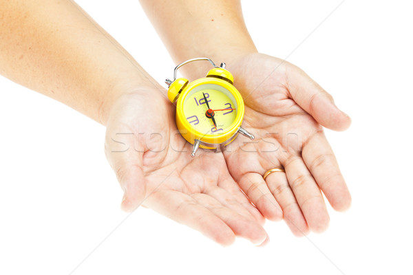 Clock on hand as time management concept Stock photo © FrameAngel