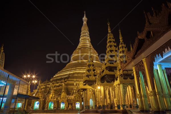 Pagode birma Myanmar nacht wereld rivier Stockfoto © FrameAngel