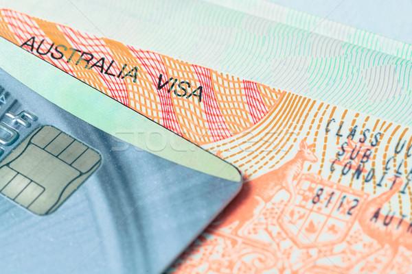 Passeport tampon visa carte de crédit Voyage Australie Photo stock © FrameAngel