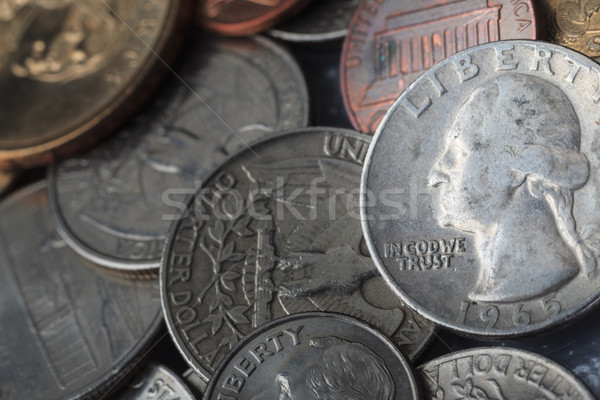 Group of US American coin with wording 'in God we trust' Stock photo © FrameAngel