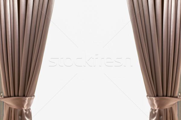 Luxo marrom couro cortina parede casa Foto stock © FrameAngel