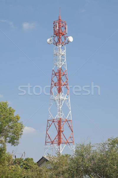 Comunicaciones torre tecnología teléfono metal montana Foto stock © FrameAngel