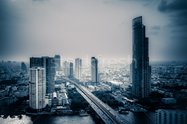 Business Building Bangkok city area at twilight scene with trans Stock photo © FrameAngel