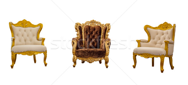 Old vintage leather classic armchair isolated on white backgroun Stock photo © FrameAngel