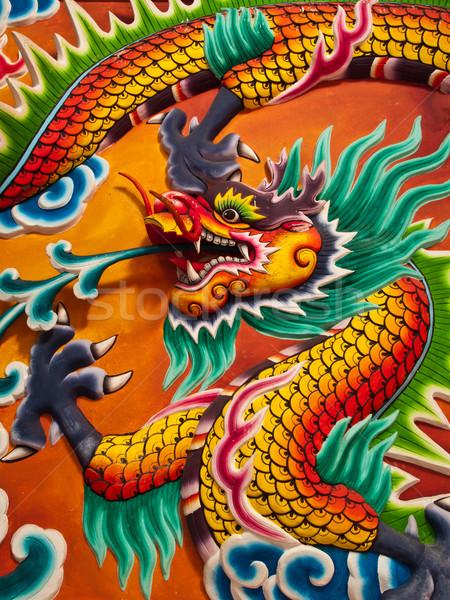 Dragon scultura muro blu viaggio pittura Foto d'archivio © FrameAngel