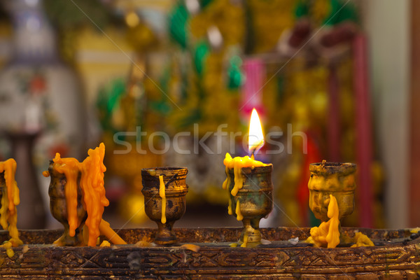 Candles lighting in temple Stock photo © FrameAngel