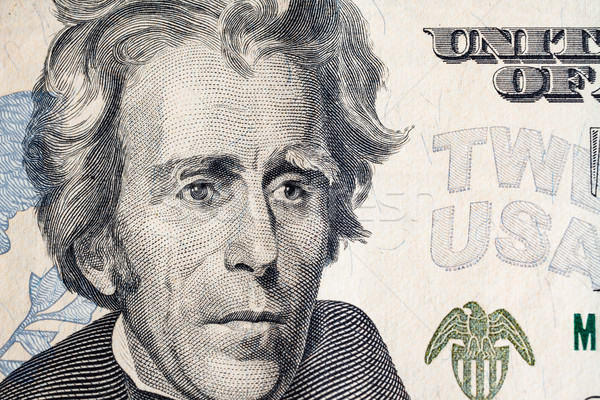 US President 'Jackson' face on US twenty or 20 dollars bill macr Stock photo © FrameAngel