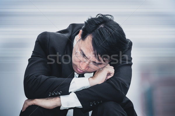 asian businessman sad worry tired and headache, stress at workpl Stock photo © FrameAngel