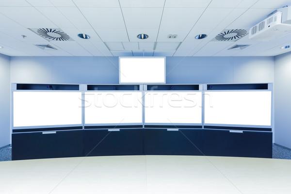 Video conferentie business zakelijke bijeenkomst kamer scherm Stockfoto © FrameAngel