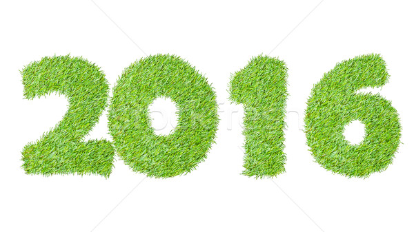 2016, New year made from the green grass, isolated on white can  Stock photo © FrameAngel