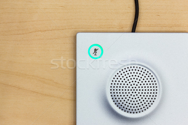 Microphone icon switch, and loudspeaker on wood background for c Stock photo © FrameAngel