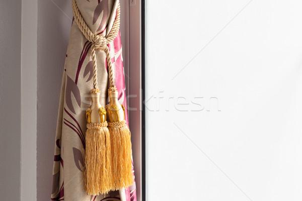 Luxo cortina casa parede tecido interior Foto stock © FrameAngel