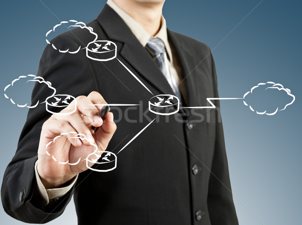 Business man draw network diagram Stock photo © FrameAngel
