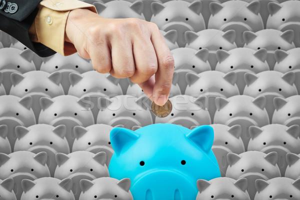 Banku piggy działalności strony oszczędność finansów pracy Zdjęcia stock © FrameAngel