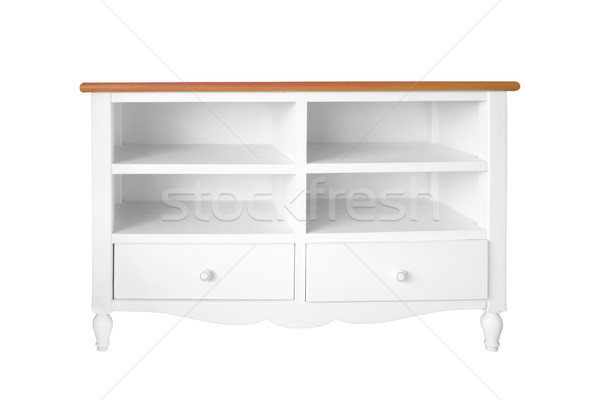white Empty wood shelf and drawer isolated Stock photo © FrameAngel