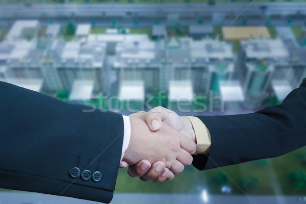 Iş el sıkışma bulanıklık binalar ofis Cityscape Stok fotoğraf © FrameAngel