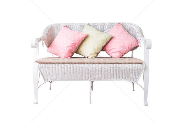 sofa furniture weave bamboo chair and pillow on white background Stock photo © FrameAngel