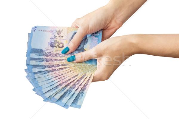 Taylandlı para kadın el yalıtılmış Stok fotoğraf © FrameAngel