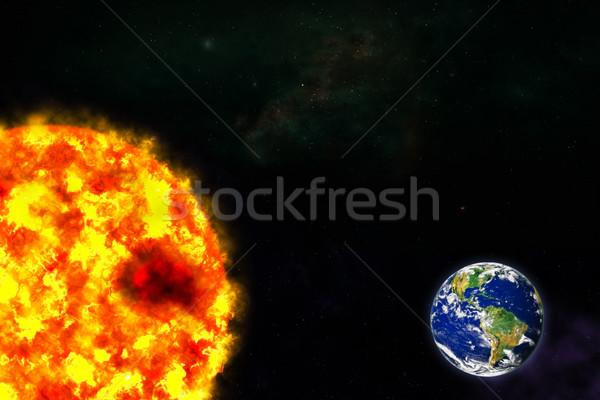 планете Земля солнце галактики пространстве карта морем Сток-фото © FrameAngel