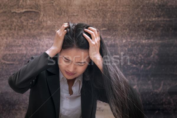 Asiático mulher de negócios profissional fracassado chateado trabalho Foto stock © FrameAngel