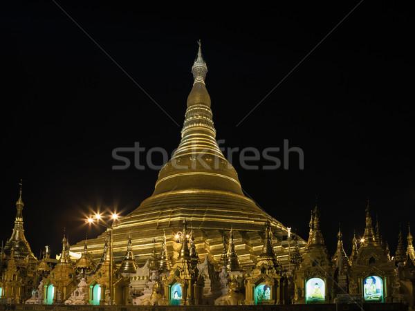 Shwedagon pagoda in Yangon, Burma (Myanmar) at night Stock photo © FrameAngel
