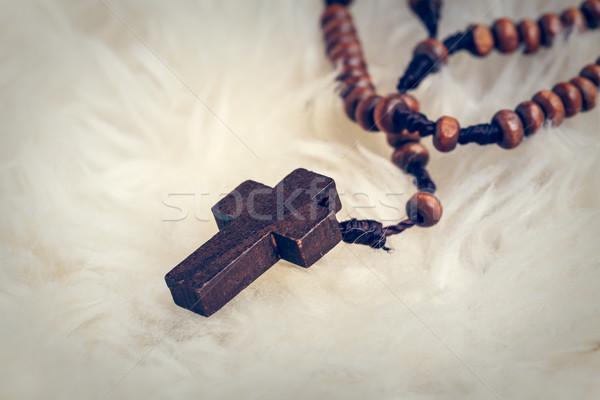 Keresztény kereszt nyaklánc birka gyapjú Jézus Stock fotó © FrameAngel