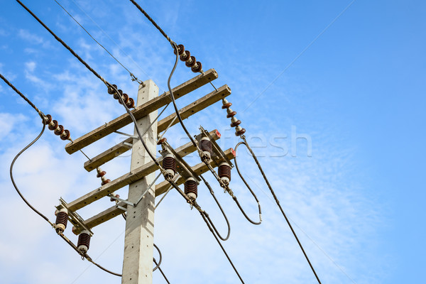 wire cables on electricity pole in the city for safety concept   Stock photo © FrameAngel