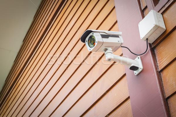 Cctv kamera biztonság fal biztonság otthon Stock fotó © FrameAngel