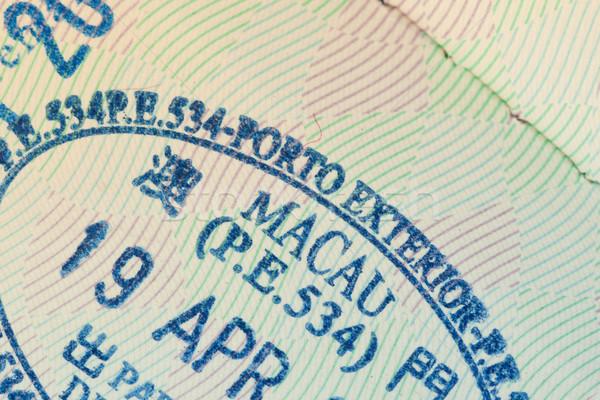 Bélyeg VISA bevándorlás utazás biztonság irat Stock fotó © FrameAngel