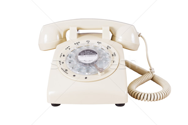 Retro rotary vintage telephone on white background Stock photo © FrameAngel